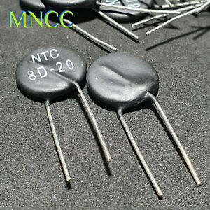 1//2//5pc NTC 8D-20 8-Ohm 6A Thermistor Resistor MF72-8D 20mm Thermal Resistor