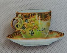 Vintage Style Floral Teacup Brooch or Scarf Pin Fashion Wood Accessories NEW