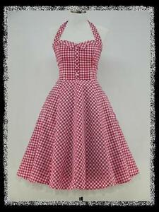 Dress-190-Pink-and-White-Check-50er-Rockabilly-Prom-Dress-Size-46-48