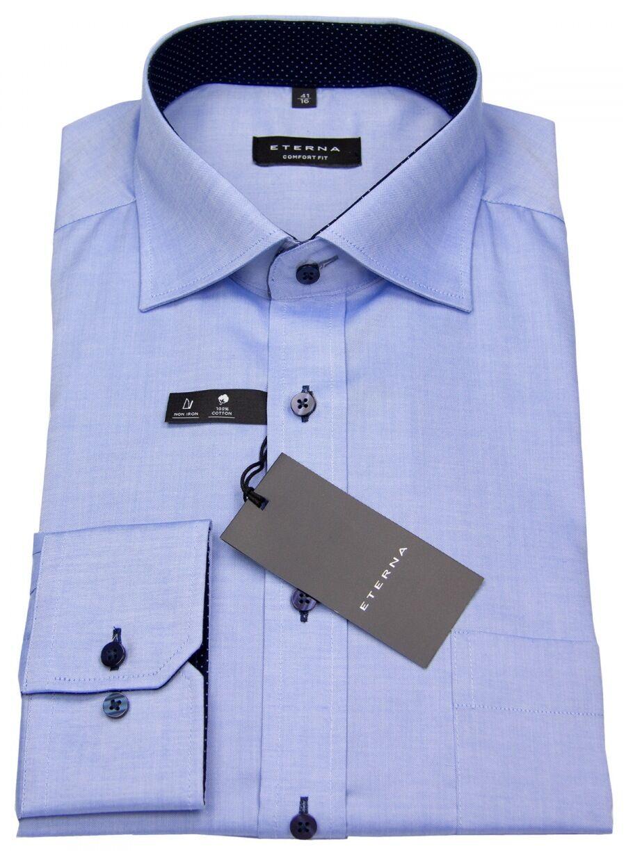 Eterna Herren Hemd Comfort Fit Oxford Kontrastknöpfe blau 8100 E137 12