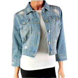 7fbf7bbab0cd5 NEW LOOK LUXURY DENIM JACKET WOMENS LADIES CROPPED JEAN BLUE WESTERN ...