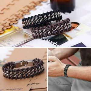 Fashion-Black-Braided-Leather-Silver-Stainless-Steel-Chain-Men-039-s-Bracelet-Bangle