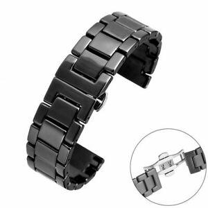Black-White-18-20-22mm-Ceramics-Watch-Band-Replacement-Wrist-Strap-Adjustable