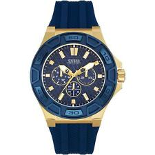 GUESS MEN'S 45MM BLUE RUBBER BAND GOLD PLATED CASE QUARTZ ANALOG WATCH W0674G2