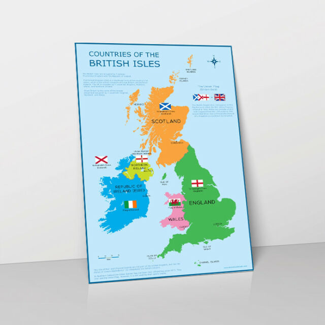 Uk Map Of Countries.A3 Uk Map Great Britain British Isles Childrens Wall Chart Poster Classroom