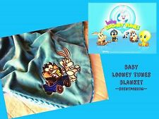 Baby LOONEY TUNES Taz & Bugs Bunny Blocks Soft Minky Velour & Satin Blanket