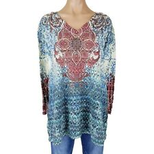New Listingwomens 3x Top Shirt Blouse Tunic Plus Size Floral Open Knit 34 Sleeve V Neck
