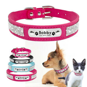 Bling-Personalised-Dog-Collar-Suede-Leather-ID-Name-Collar-Engraved-Free-XS-L