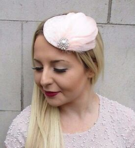 e38e2f49dfc15 Image is loading Light-Blush-Pink-Silver-Feather-Pillbox-Hat-Fascinator-