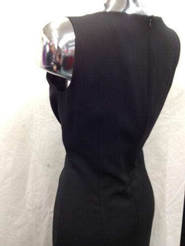 Femme mesdames plain noir élégant robe avec broderies /& sequins autour cou