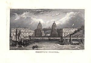 1840 Vittoriano Stampa ~Greenwich Ospedale~ Fiume Tamigi Londra Vela Navi Vapore