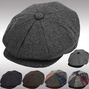 Men s Wool Newsboy Cap Herringbone Driving Cabbie Tweed Applejack ... aaf3cdf032c3