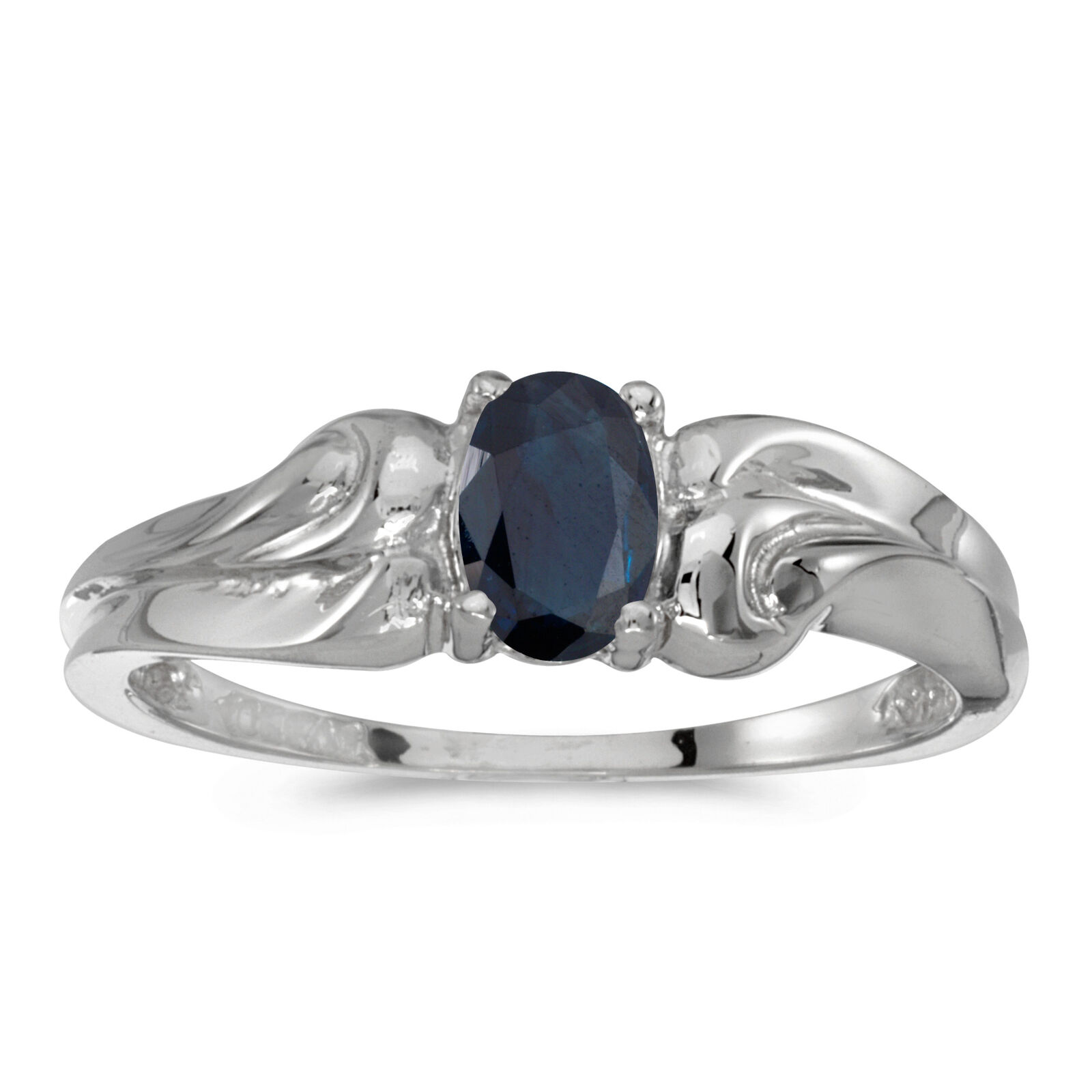 14k White gold Oval Sapphire Ring