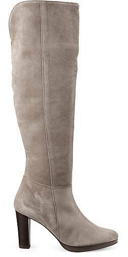 COX Blogger Overknee-Stiefel Stiefel Absatz beige taupe grau 38 UK 5 Wildleder