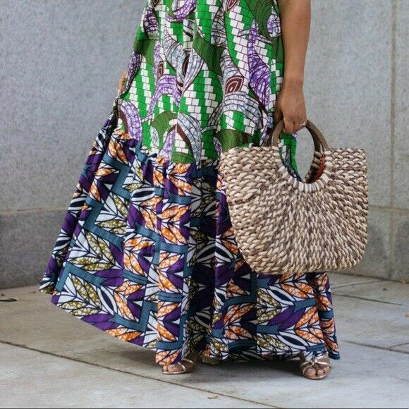 THE LIMITED Woven Straw Bag with Wooden Handles