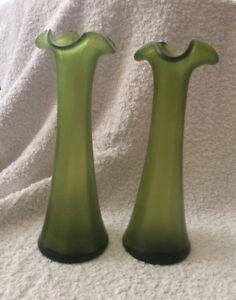 Paire de Antique Main soufflé opaque vert volants vases-afficher le titre d`origine xXFZ0l45-09164300-663399487