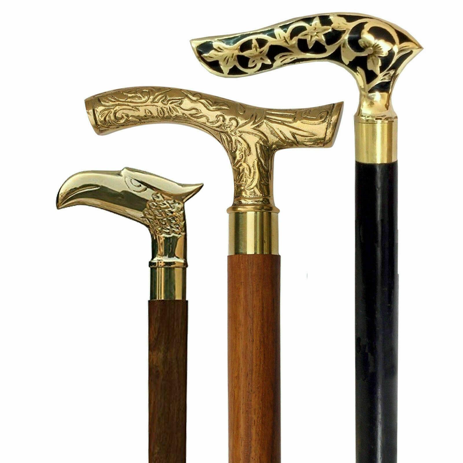 Vintage Antique Walking Cane Wooden Walking Stick SET OF 3Brass Handle Knob Gift