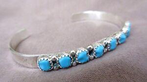 Zuni 925 Silver & Turquoise Small Cuff Bracelet by Leolita Shebola JB0027