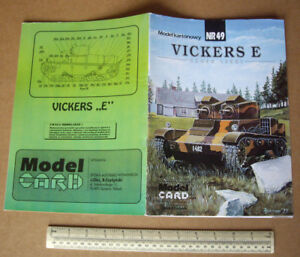 """1990s Vintage """"Model Card"""" Poland Cut-Out Model Book Vickers E Light Tank 1930s"""