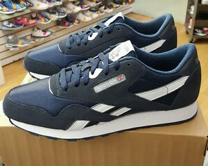 dd3f022a728 Image is loading Reebok-Classic-Nylon-39749-Navy-Platinum-MEN-US-