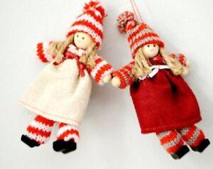 Sass /& belle 2 pixie jute robe rouge /& marron noël suspendu décoration 12x7cm