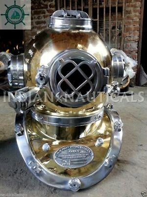 "Imported From Abroad Deep Sea U.s Navy Mark V Diving Divers Helmet Full Brass 18"" Gift Dh075897 As Effectively As A Fairy Does Maritime"