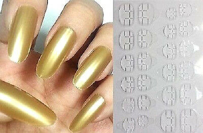 USA GOLD Press Glue On False 20pc Stiletto Full Nails Adhesive Tips Long Oval