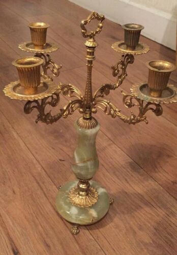 Antique 4 Piece Candelabra with Marble Base