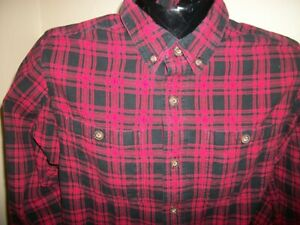 Men-039-s-Duluth-Trading-Co-Long-Sleeve-Button-Down-Flannel-Shirt-Size-M-Medium