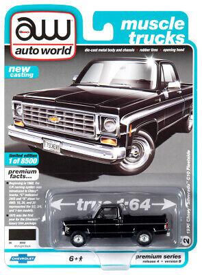 black 1981 chevy c10 silverado truck squarebody 1//64 diecast model auto world