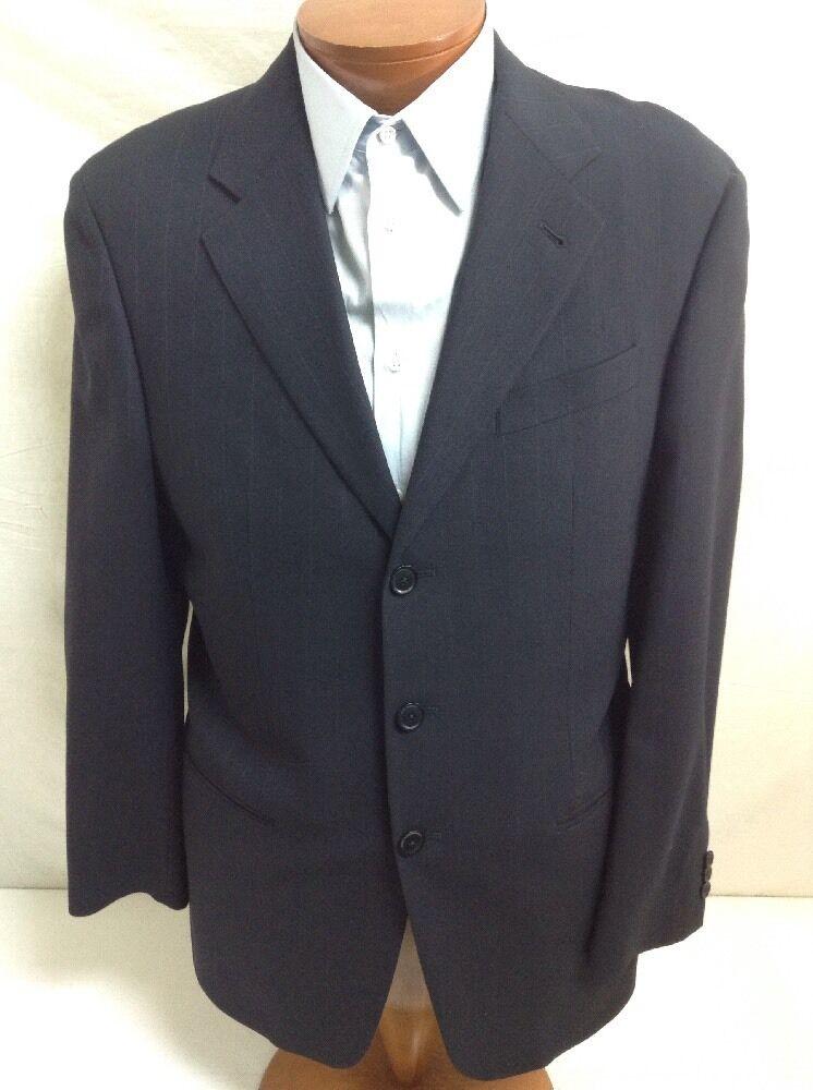 ARMANI COLLEZIONI 3-BT Dark Blau Striped Classic Wool Suit 40R/34 EU 50R