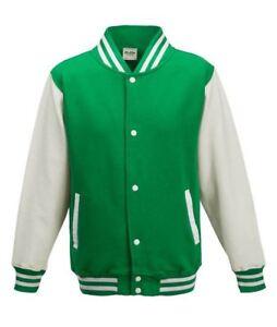 Kelly-Green-amp-White-Unisex-Adult-Varsity-Baseball-Sports-Knitted-Cuffs-Jacket