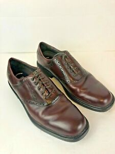 Nunn Bush Oxford Square Toe Shoes Brown Leather Lace Up