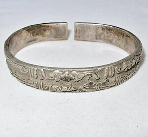 Image Is Loading Antique Chinese Sterling Silver Split Bangle Bracelet 55