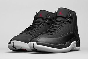 size 40 19e55 23dc6 Details about Air Jordan 12 XII Retro BG Nylon Neoprene Black Gym Red White  153265-004