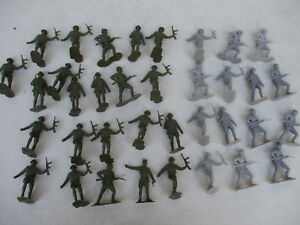 French-World-War-2-Troops-Lot-Marx-Recast-Toy-Soldier-Army-Men-Playset-Military