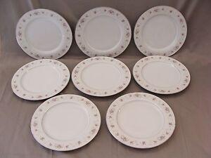 8 Vintage Primrose Fine China Dinner Plates #6863 White W/ Pink Roses Japan & 8 Vintage Primrose Fine China Dinner Plates #6863 White W/ Pink ...