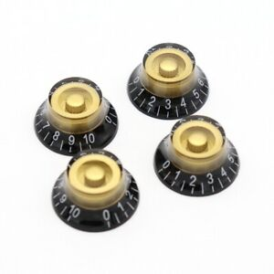 4x Electric Guitar Knobs Special Looking Top Hat Bell Style Gold //black