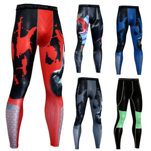 Men-039-s-Compression-Long-Pants-Sports-Gym-Long-Tights-Wicking-Tight-fit-Printed
