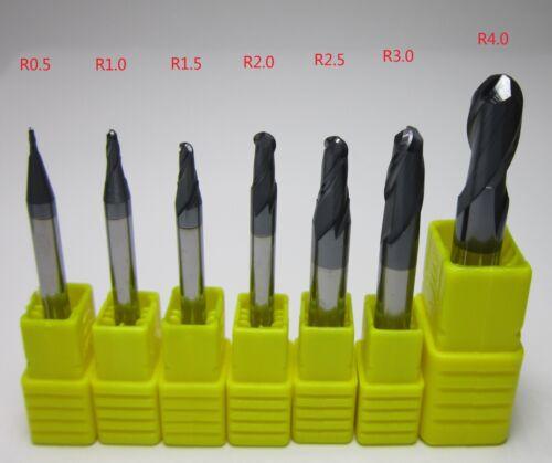 7PCS Ø 1 2 3 4 5 6 8 mm HRC55 Carbide Ball Nose End Mills machine milling cutter