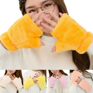 PT-Lk-Eg-Donna-Color-Caramella-Cashmere-Guanti-senza-Dita-Spesso-Caldo-In
