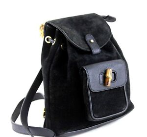 5878700c93ff Auth GUCCI Vintage Bamboo Backpack Hand Bag Black Suede Leather 2 ...
