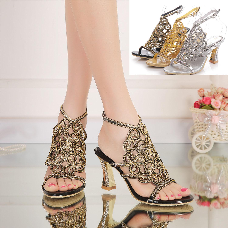New Boho Rhinestone  Wedding Bride High Heel Platform Evening Dress Sandal scarpe