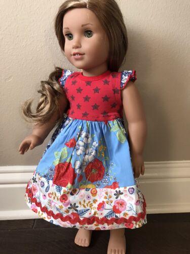 "Handmade Matilda Jane MJ Dress 18"" American Girl Doll In The Stars Christmas"