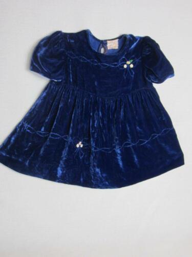 *Vintage 1940's Lush Blue Velvet Baby Dress Size 1