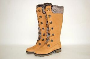 17c05b479b5 Timberland Mirney Faux Fur Lace up 91335 Knee High Wheat Women Boots ...