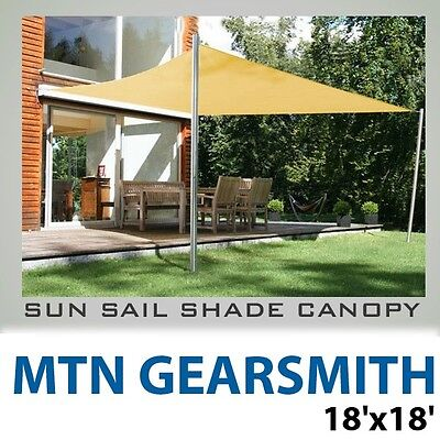 New 18'x18' Deluxe Patio Rectangle Square Sun Sail Shade Canopy Top Cover - Sand