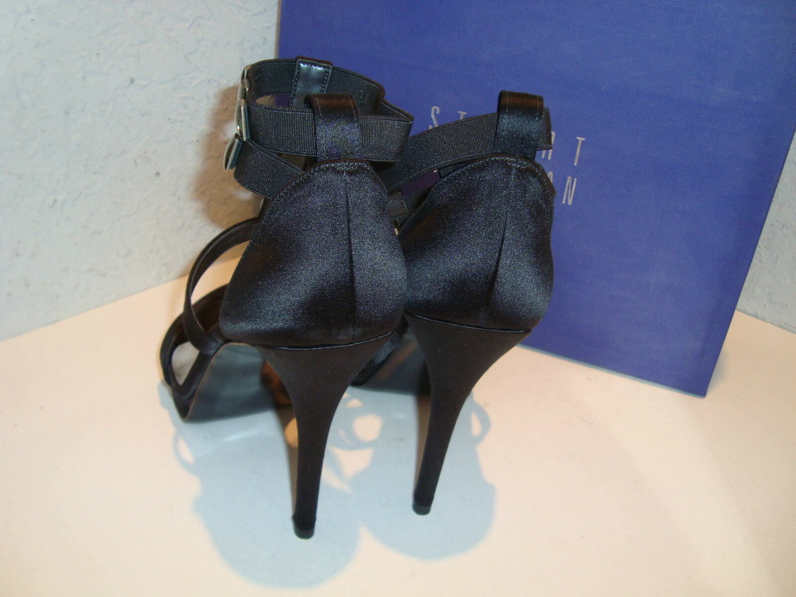 Stuart Weitzman New donna donna donna OnTheDot nero Satin Sandals scarpe 9 Medium 3eea3c
