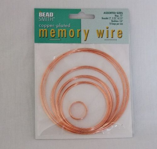 Memory Wire 5 Assorted Sizes 10 loops Each Copper Plated