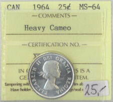 1964 Canada 25 Cents Silver Quarter MS-64 ICCS Certified Heavy Cameo XTG 862